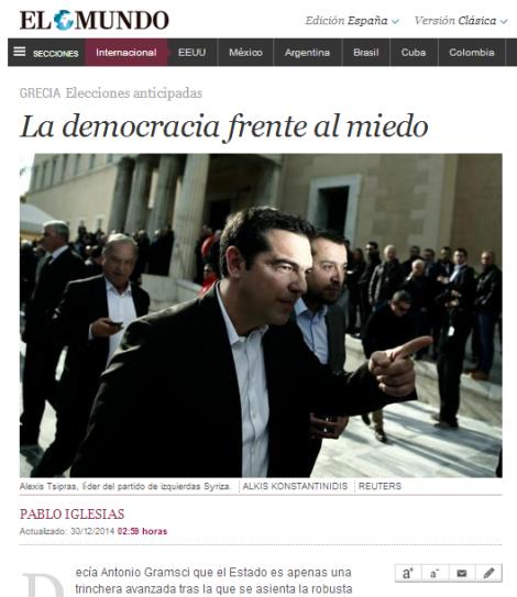 Η δημοκρατία απέναντι στο φόβο. Του Πάμπλο Ιγκλέσιας